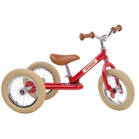 Trybike - Red Vintage with Cream Tyres and Chrome (3 wheel)