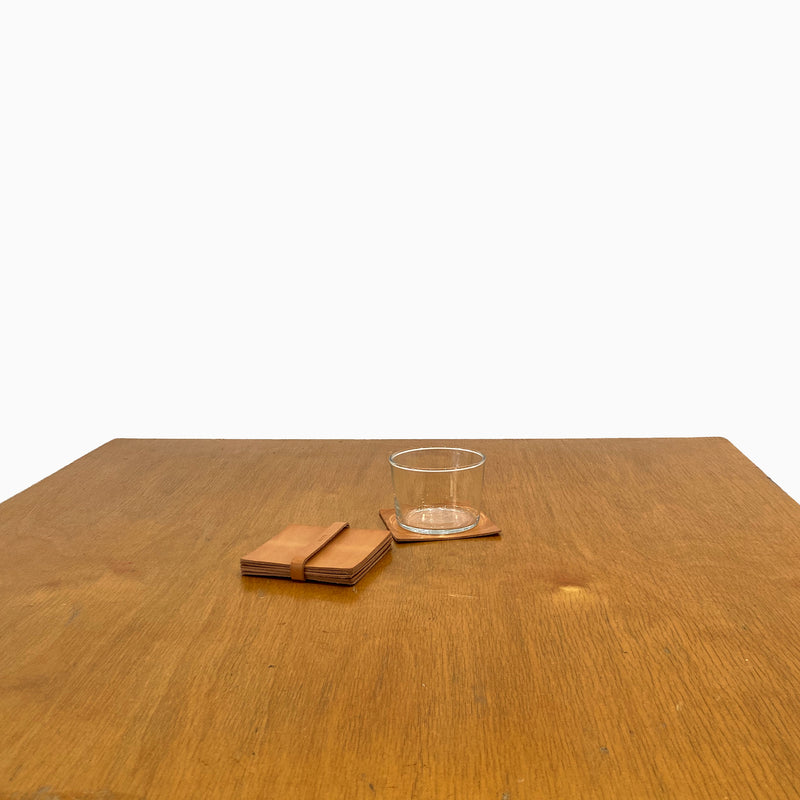 N°1041 Square coasters with leather tie