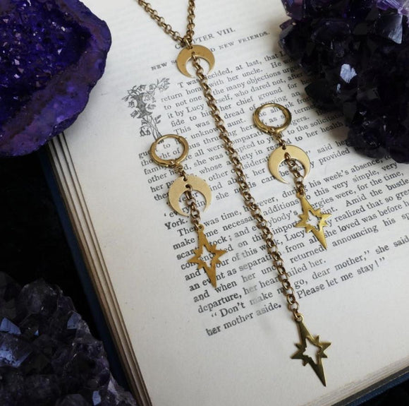 Enchanted Jewelry at a Metaphysical Store.Crescent moon necklace and earings.