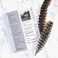 Property Records: Printable Genealogy Form (Digital Download)