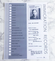 Immigration Records Page: Printable Genealogy Form for Family History (Digital Download)