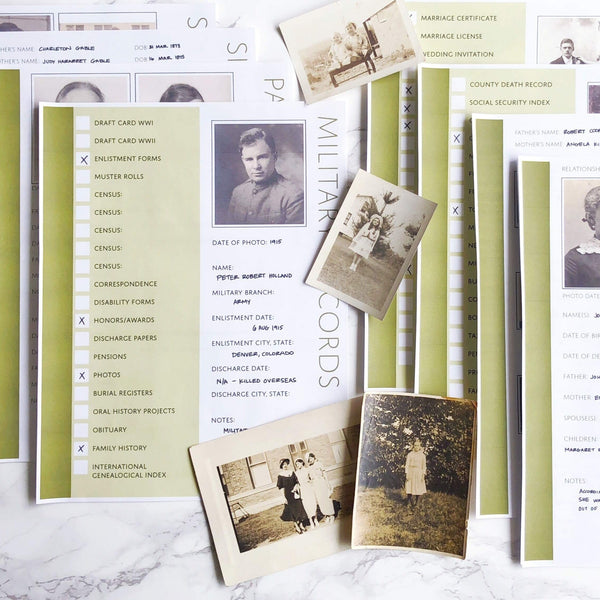 USA Deluxe 200 Page Ultimate Family History Bundle - Olive Green (Digital Download)
