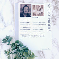 Spouse Profile: Printable Family History Form for Genealogy (Digital Download)