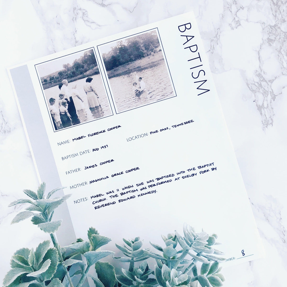 Baptism: Printable Ancestry Form for Genealogy (Digital Download)