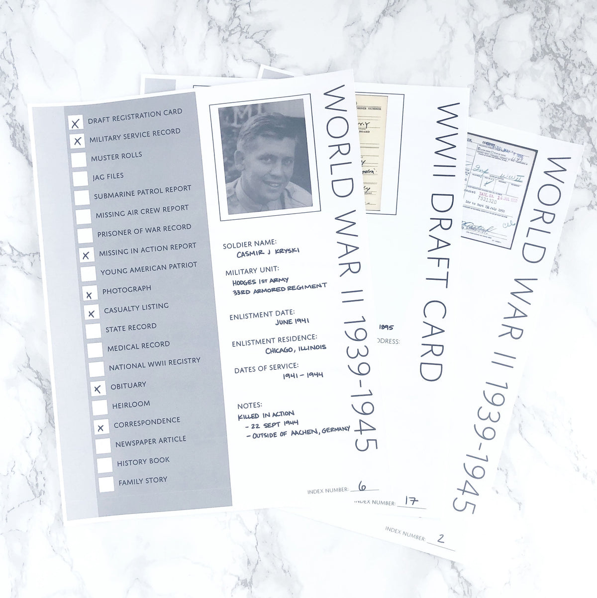 World War Two Bundle: Printable Genealogy Forms (Digital Download)