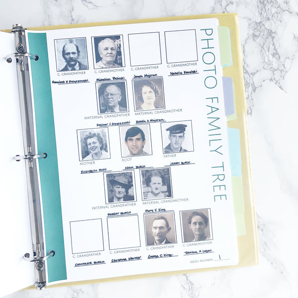 Four Generation Photo Family Tree: Printable Ancestry Form for Genealogy (Digital Download)