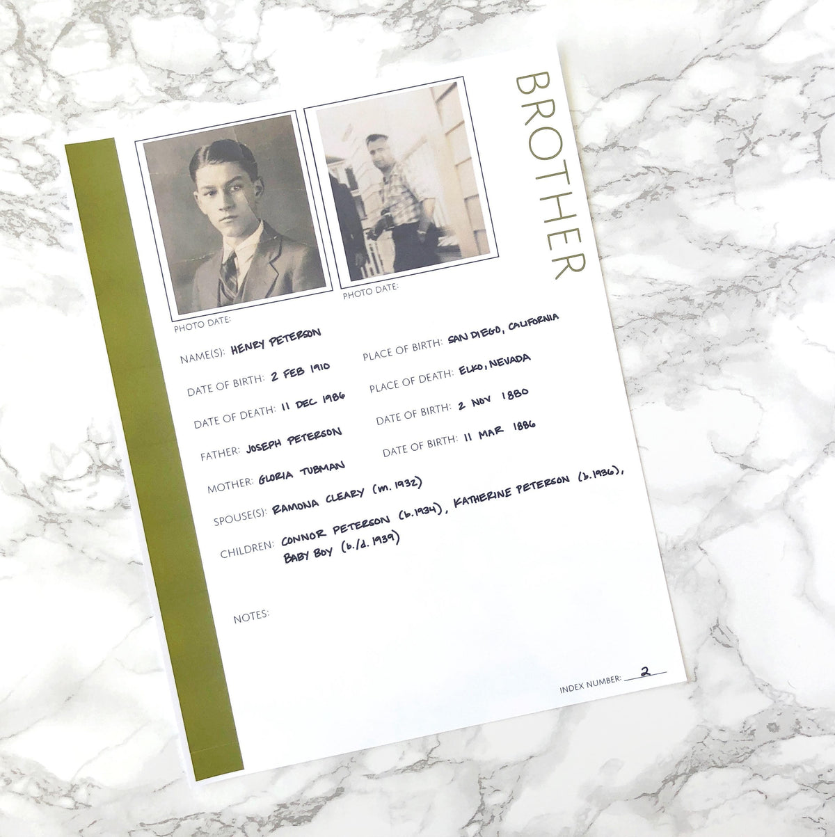 Brother Profile: Printable Genealogy Form (Digital Download)