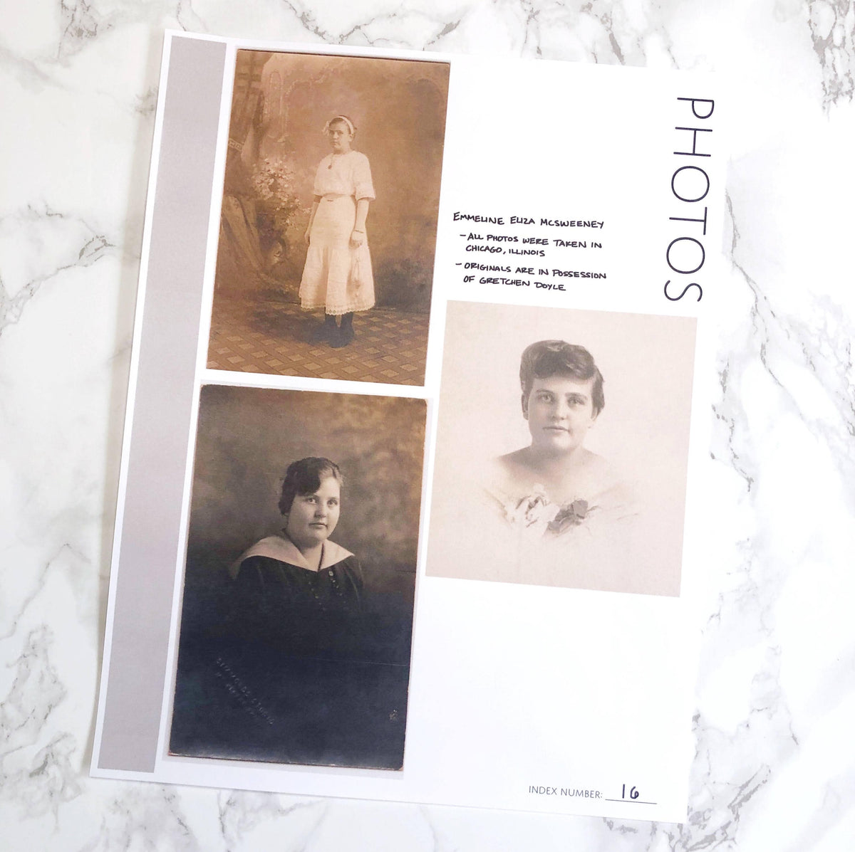 Photos Page: Printable Genealogy Form for Family History Binder (Digital Download)