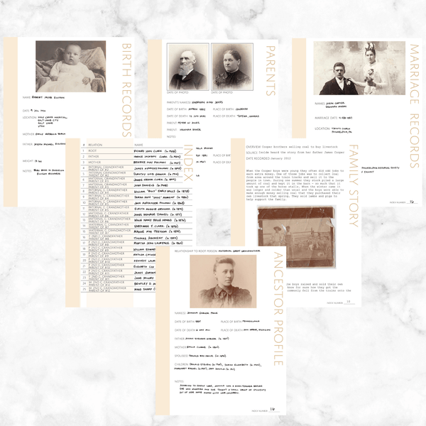 Core 50 Page Family History Bundle - Antique White (Digital Download)