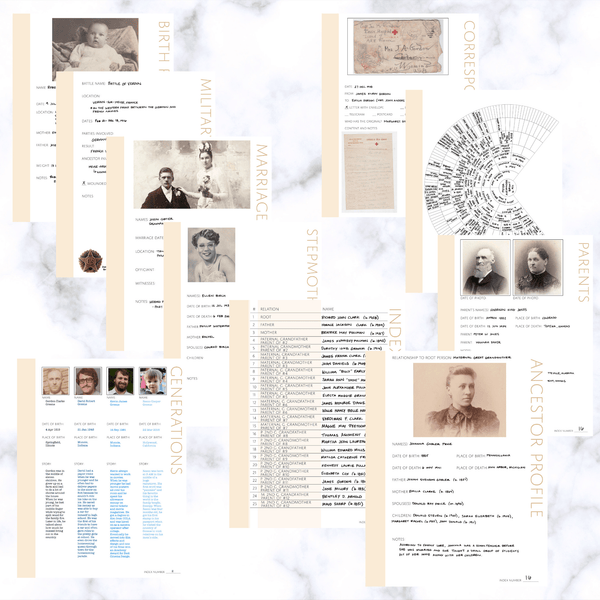 Deluxe 200 Page Family History Bundle - Antique White (Digital Download) - Family Tree Notebooks