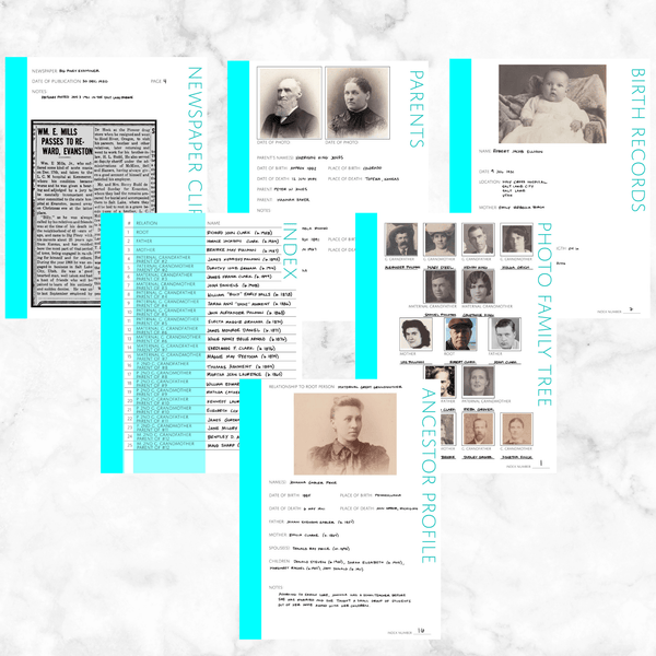 Core 50 Page Family History Bundle - Aqua (Digital Download)