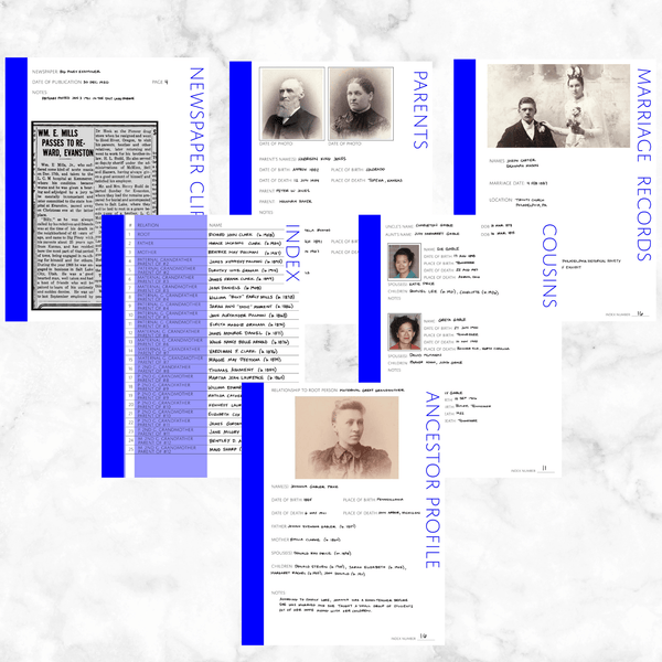 Core 50 Page Family History Bundle - Blue (Digital Download)