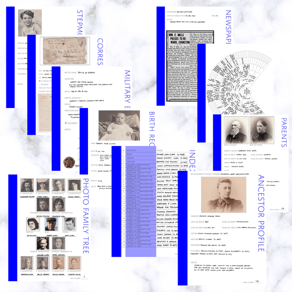International Deluxe 200 Page Family History Bundle - Blue (Digital Download) - Family Tree Notebooks