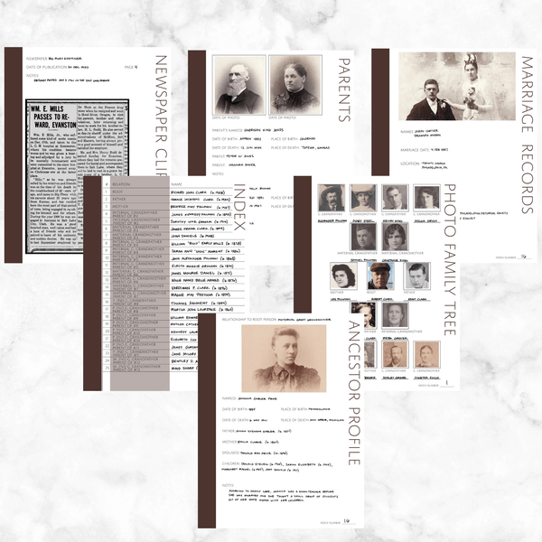 Core 50 Page Family History Bundle - Brown (Digital Download)