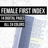 Female First Index: Printable Genealogy Forms (Digital Download)