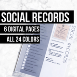 Social Records: Printable Genealogy Form for Family History Binder (Digital Download)