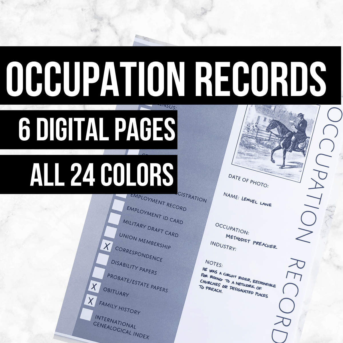 Ancestor Occupation Records: Printable Genealogy Form for Family History Binder (Digital Download)