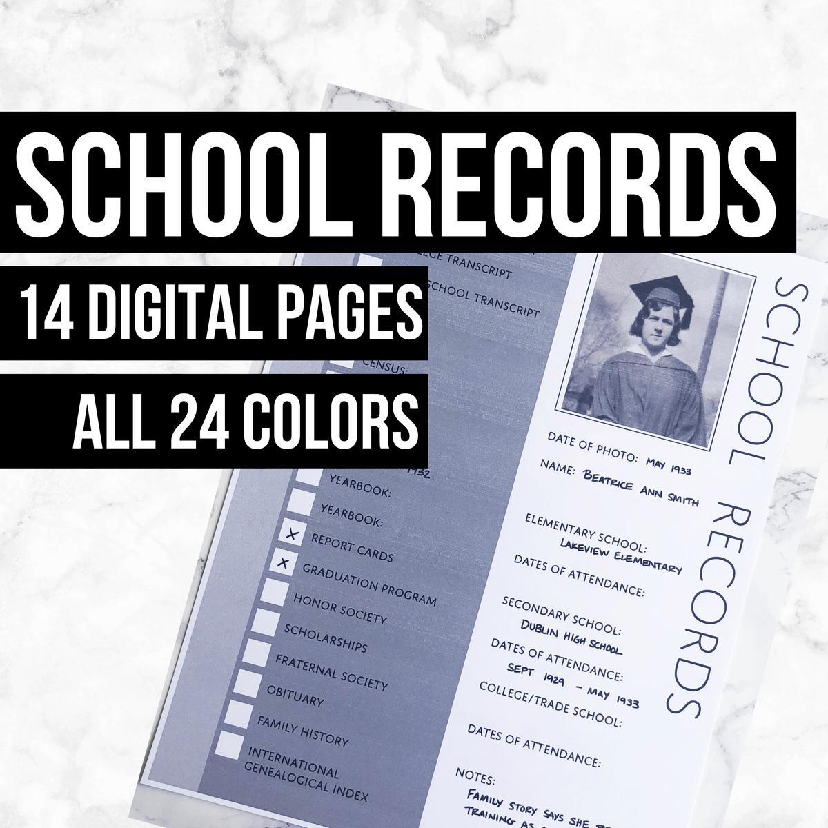 School Records Bundle: Printable Genealogy Forms (Digital Download)