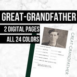 Great-Grandfather: Printable Genealogy Form (Digital Download)