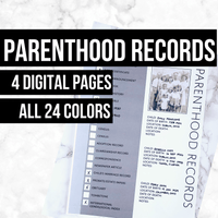 Parenthood Records: Printable Genealogy Worksheet (Digital Download)