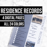 Ancestor Residence Records: Printable Genealogy Form for Family History (Digital Download)