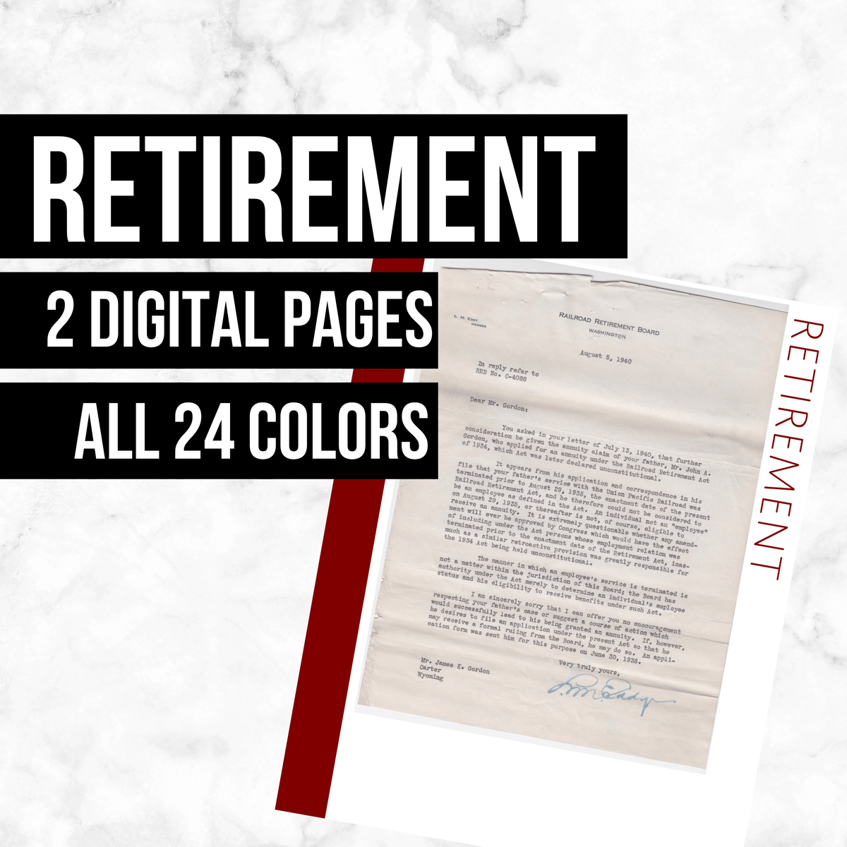 Retirement Page: Printable Genealogy Form (Digital Download)