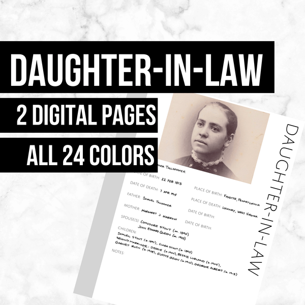 Daughter-in-Law: Printable Genealogy Form (Digital Download)