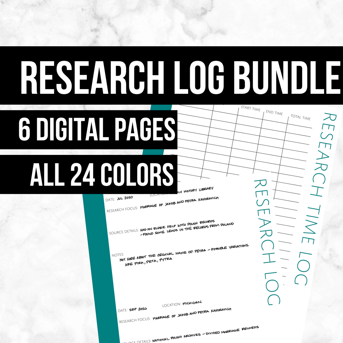 Research Log Bundle: Printable Genealogy Forms (Digital Download)
