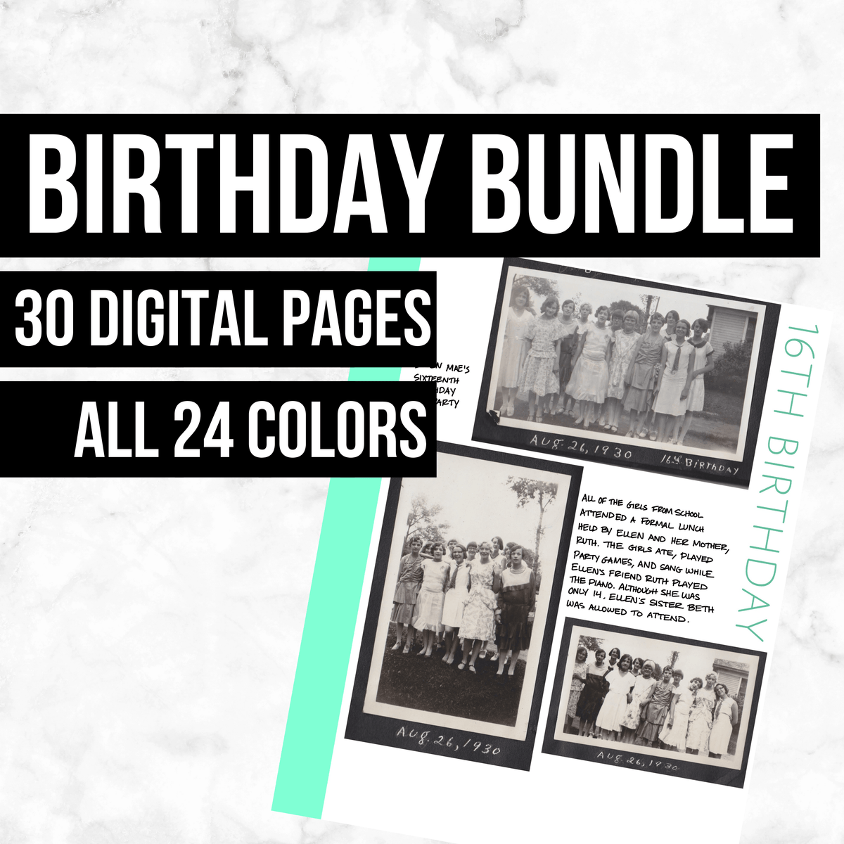 Birthday Bundle: Printable Genealogy Form (Digital Download)