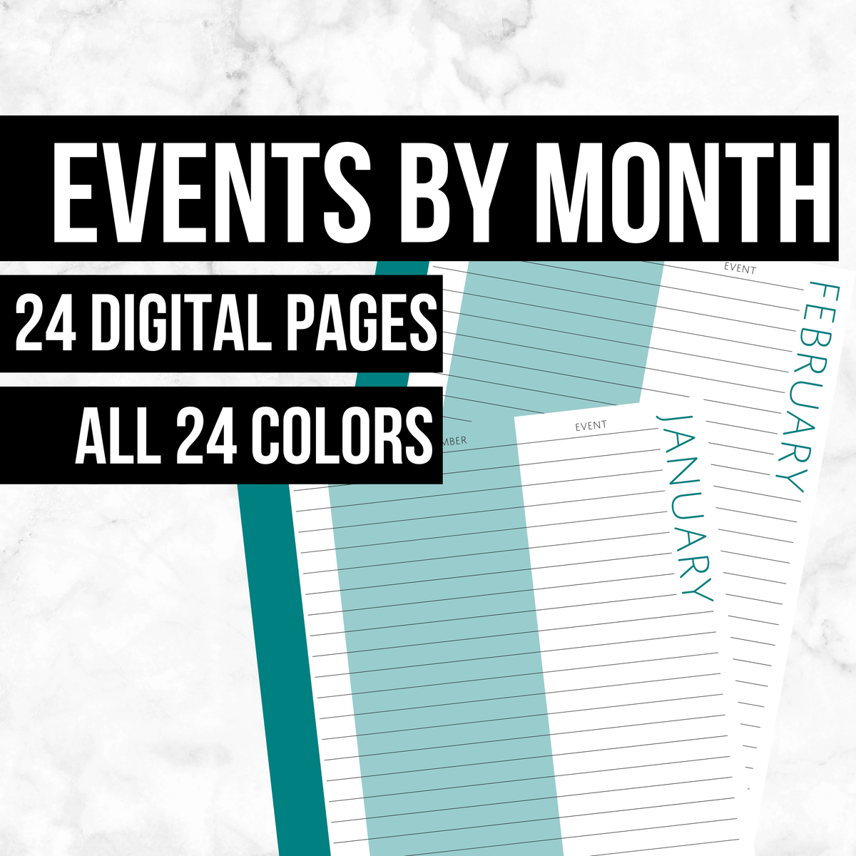 Events by Month: Printable Genealogy Forms (Digital Download)