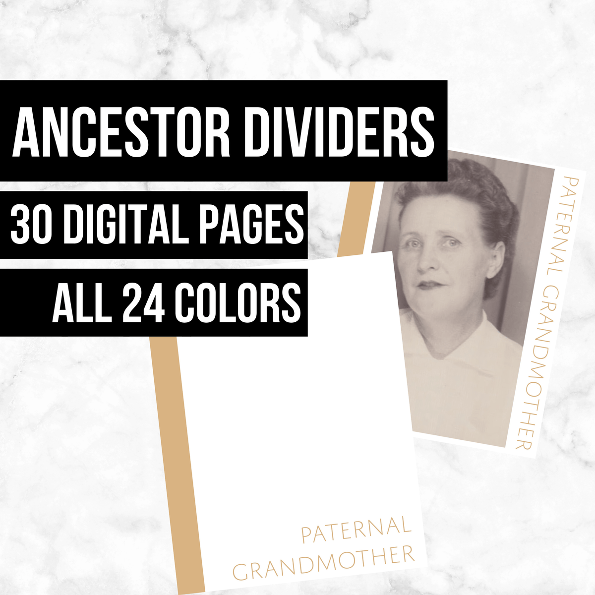 Ancestor Dividers: Printable Genealogy Forms (Digital Download) - Family Tree Notebooks