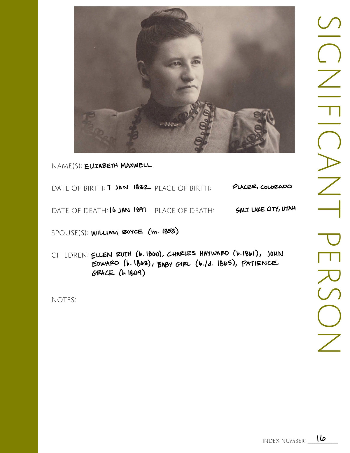 Significant Person Profile Page: Printable Genealogy Form (Digital Download)