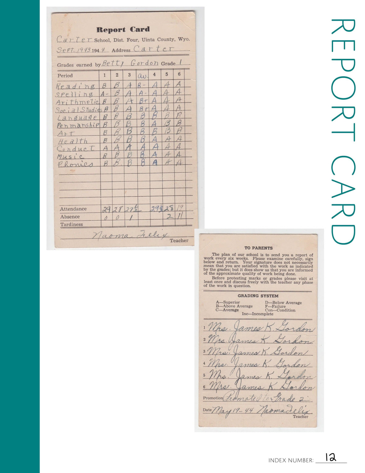 Report Card: Printable Genealogy Form (Digital Download)
