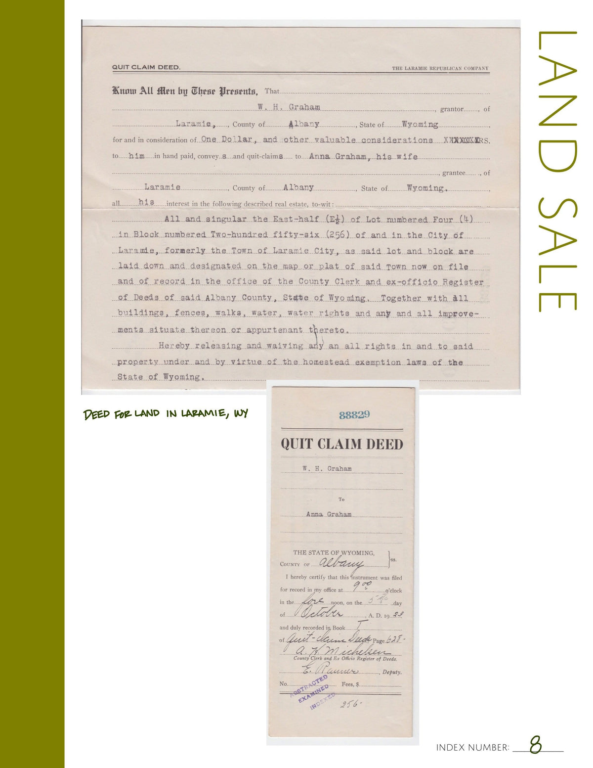 Land Sale: Printable Genealogy Form (Digital Download)