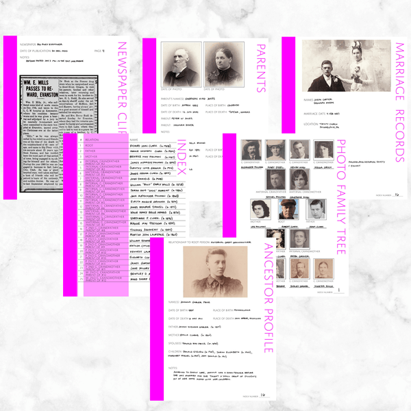 Core 50 Page Family History Bundle - Fuchsia (Digital Download)
