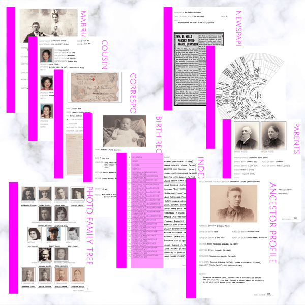 International Deluxe 200 Page Family History Bundle - Fuchsia (Digital Download) - Family Tree Notebooks