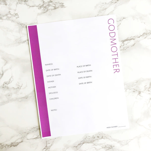 Godmother Profile Page with No Photo Frame: Printable Genealogy Form (Digital Download)