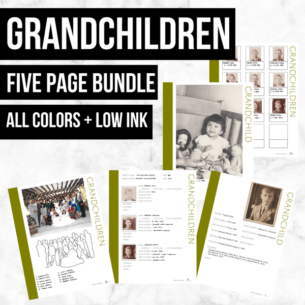 Grandchildren Bundle: Printable Genealogy Forms (Digital Download) - Family Tree Notebooks