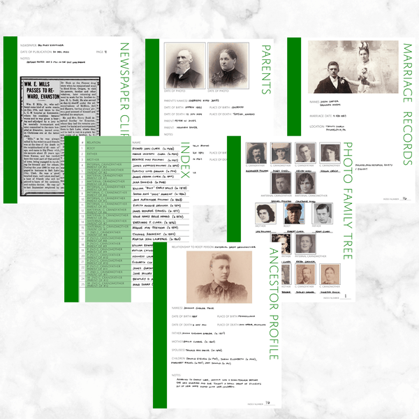 Core 50 Page Family History Bundle - Green (Digital Download)