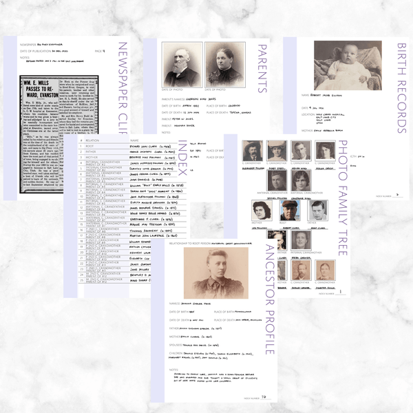 Core 50 Page Family History Bundle - Lavender (Digital Download)