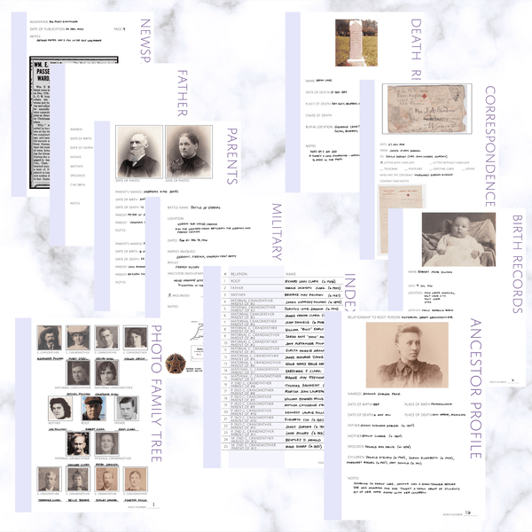 Deluxe 200 Page Family History Bundle - Lavender (Digital Download) - Family Tree Notebooks