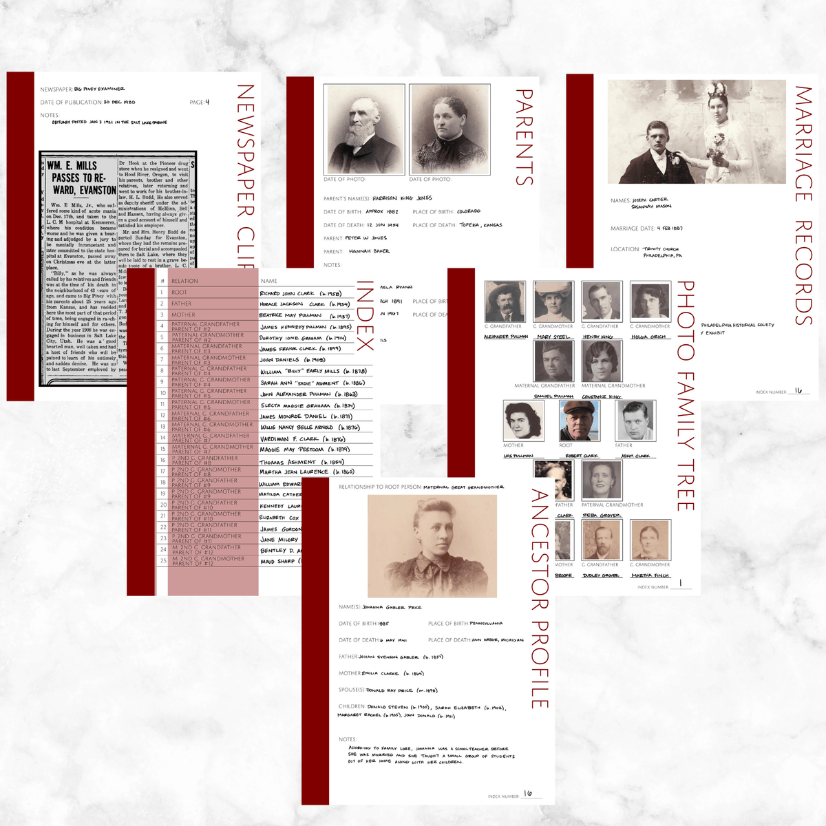 Core 50 Page Family History Bundle - Maroon (Digital Download)