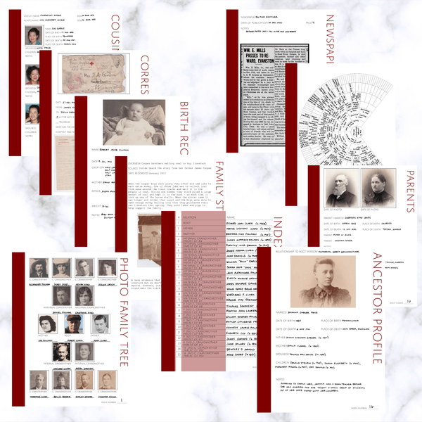 International Deluxe 200 Page Family History Bundle - Maroon (Digital Download)