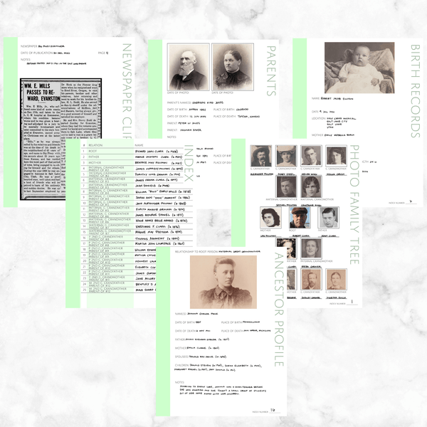 Core 50 Page Family History Bundle - Mint Green (Digital Download)