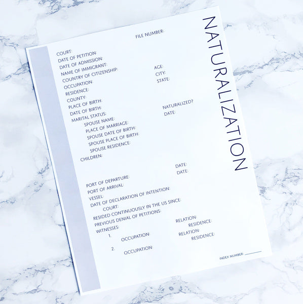Petition for Naturalization: Printable Genealogy Form (Digital Download)