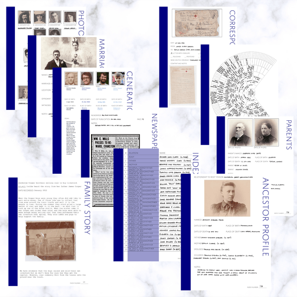 Deluxe 200 Page Family History Bundle - Navy Blue (Digital Download) - Family Tree Notebooks