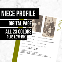 Niece Page: Printable Genealogy Form (Digital Download) - Family Tree Notebooks