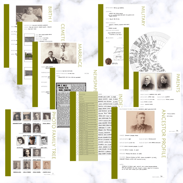 Deluxe 200 Page Family History Bundle - Olive Green (Digital Download) - Family Tree Notebooks