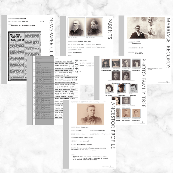 Core 50 Page Family History Bundle - Original Grey (Digital Download)
