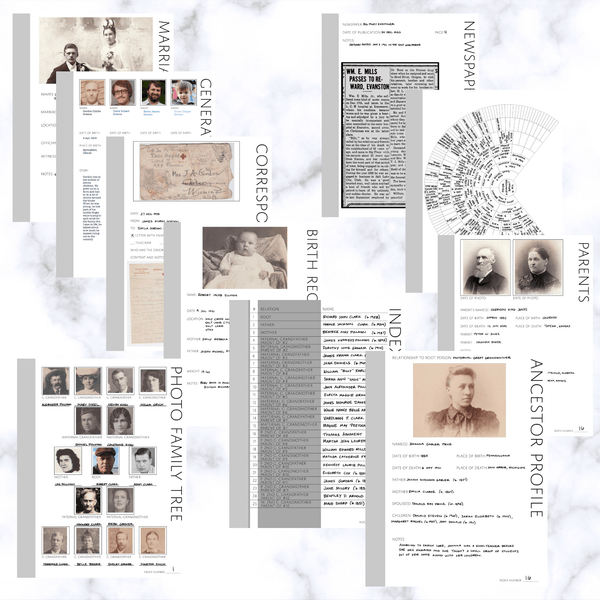 Deluxe 200 Page Family History Bundle - Original Grey (Digital Download)